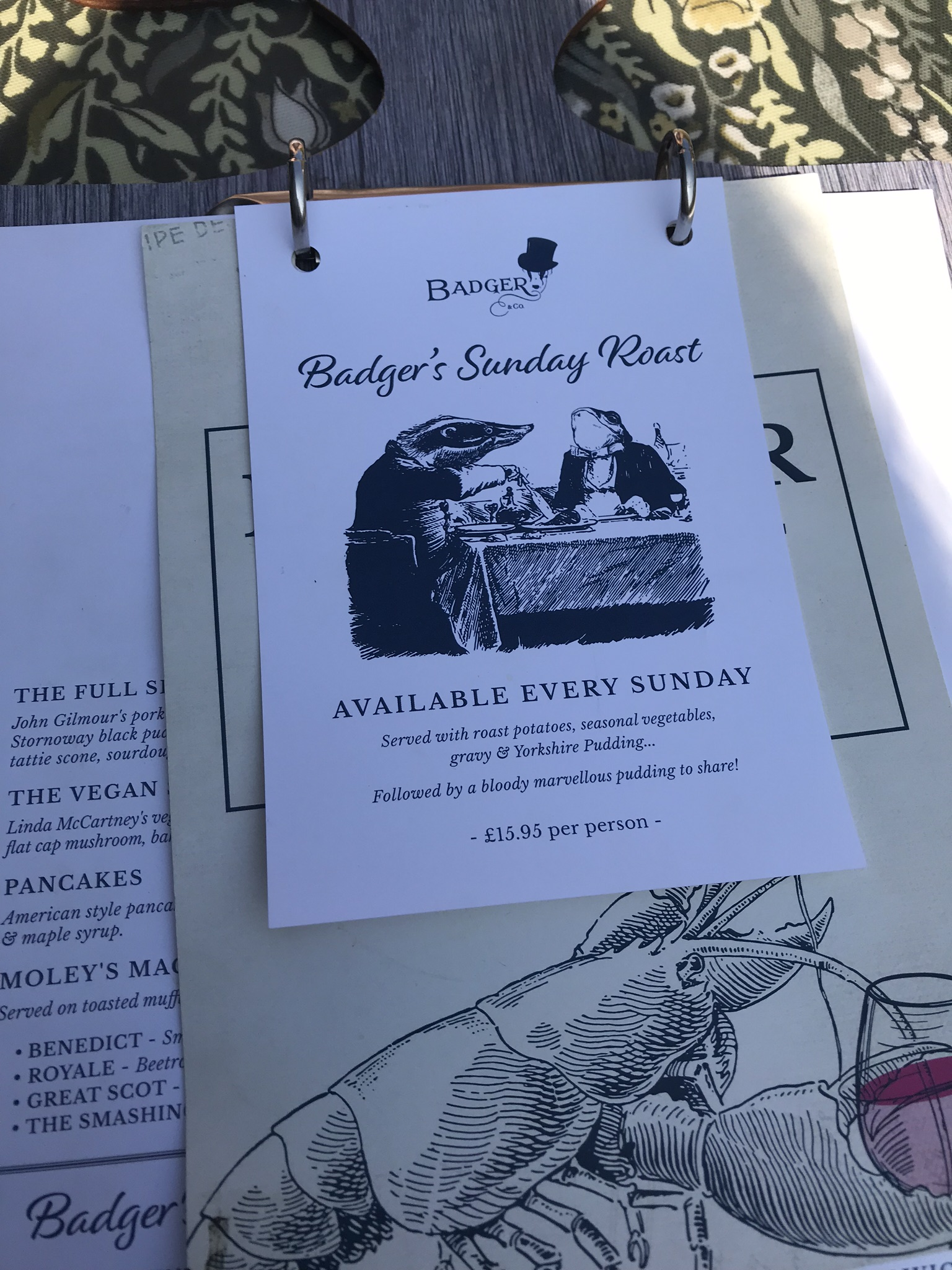 Sunday Roast Menu at Badger & Co.