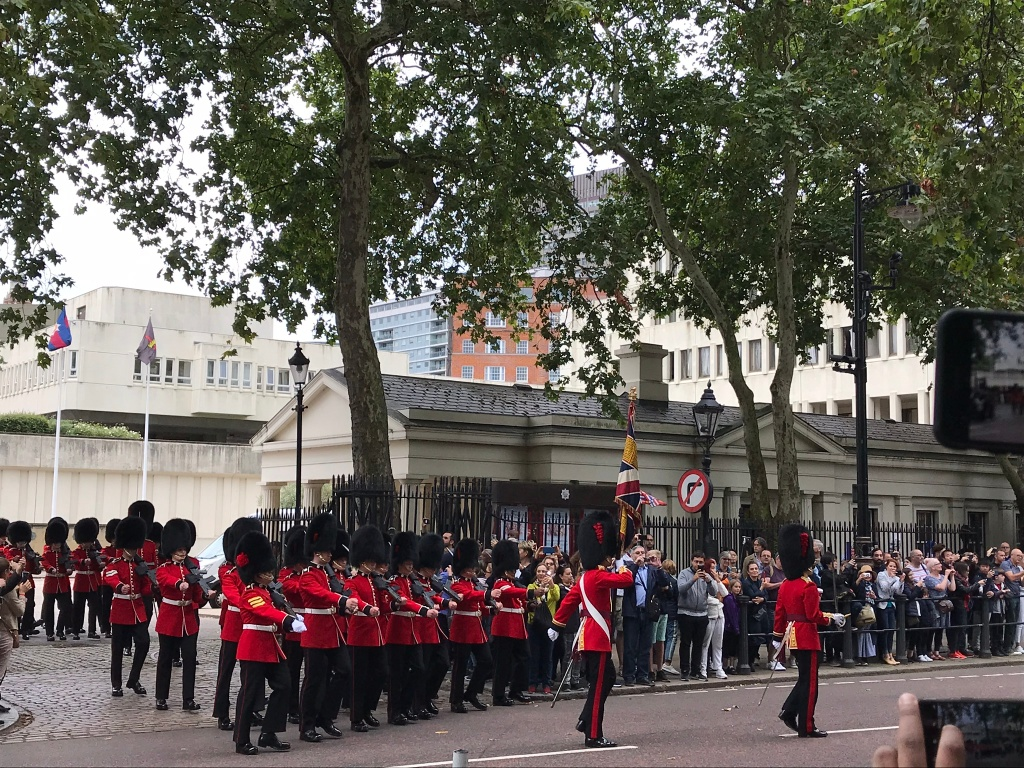 British guards marching to Buckingham Palace