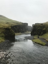 Ground view of Fjaðrárgljúfur canyon