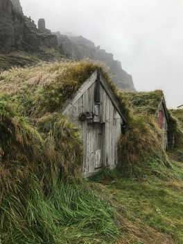 Close up of a turf house at Núpsstaður