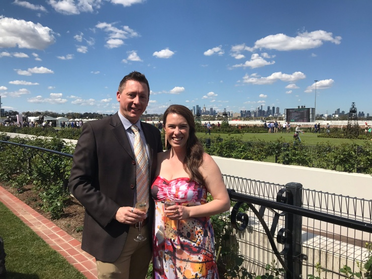 Steph and Anthony at Flemington Racecourse for Turnbull Stakes Day 2018