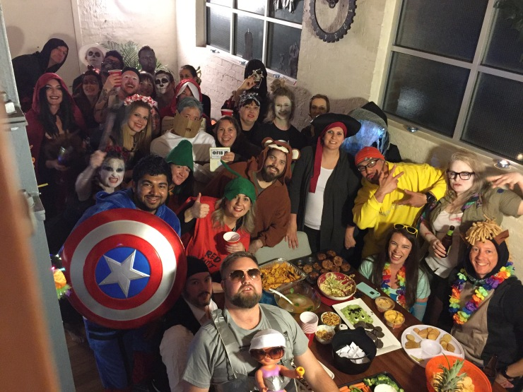 Halloween costume party group photo