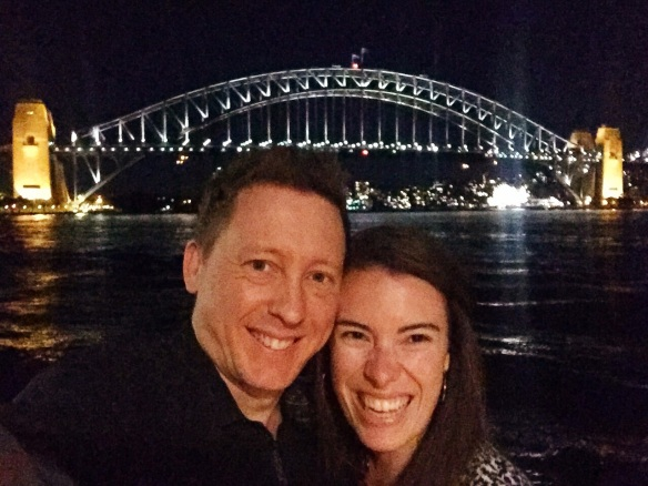 Steph and Anthony in front of the Sydney Harbour Bridge