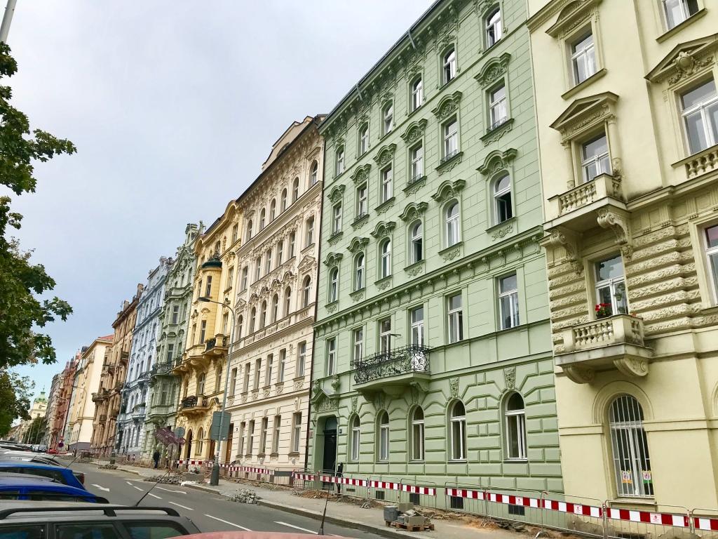 Colorful apartment buildings in Prague 3