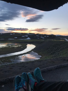 Sunset tailgate at Hayden Valley in Yellowstone
