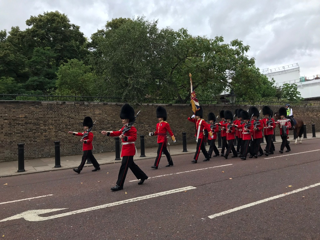 British guards marching in street